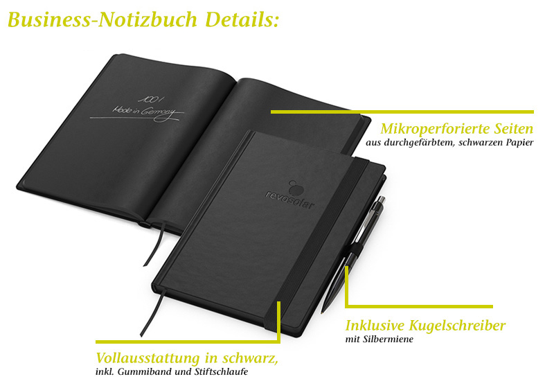 "werbeland®-News: Business Notizbuch ""Night-Book"" — Details."